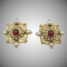 Vintage Butler and Wilson Regal Red Cabochon Clip Earrings