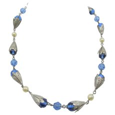 Vintage Art Deco Ornate Czech Blue Faceted Glass Necklace