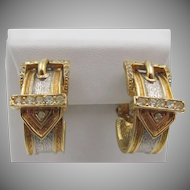 Vintage Ciner Buckle Half Hoop Clip Earrings