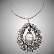 Vintage Vendome Faux Pearl Encased in Rhinestone Pendant Necklace