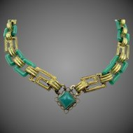 Vintage Czech Egyptian Revival Brass and Green Glass Necklace