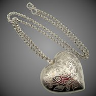 Vintage English Silver Tone Engraved Puffed Heart Necklace