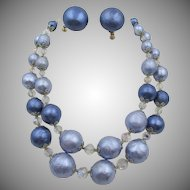 Vintage Vendome Blue Crystal Necklace and Clip Earrings