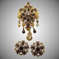 Vintage Florenza Victorian Style Faux Garnet and Opal Set