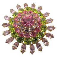 Vintage Austrian  Orchid, Green and Pink Multi-Tiered Rhinestone Brooch