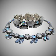 Vintage Signed Regency Faux Blue Pearl Rhinestone Necklace and Bracelet