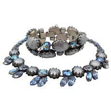 Vintage Signed Regency Faux Blue Pearl Rhinestone Necklace and Bracelet