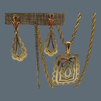 Vintage Trifari Modernist Gold Tone Necklace and Drop Earrings