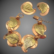 Vintage Copper Leaf Bracelet and Clip Earrings