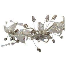 Vintage NOS Rhinestone Mesh Floral Tiara Headband