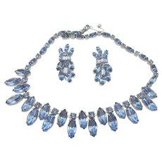 Vintage Kramer Blue Navette Rhinestone Necklace and Earring Set