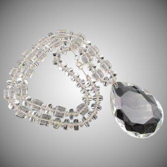 Vintage Crystal Glass Single Strand Necklace Large Drop Pendant