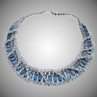 Vintage Exquisite Kramer of New York Blue Baguette Necklace