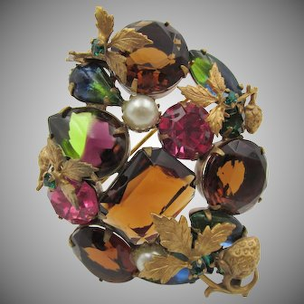 Vintage Rhinestone, Faux Pearl  and Gold Plated Austrian Brooch