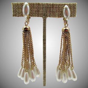 """Vintage Faux Pearl 3"""" Dangling Drippy Earrings"""