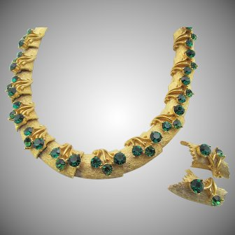 Vintage Brushed Plated Emerald Rhinestone Necklace and Earring Set