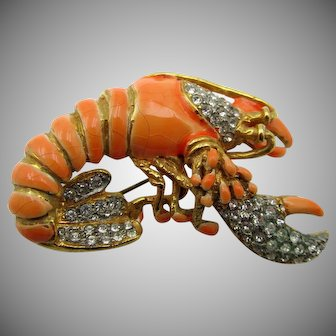 Vintage 1960s KJL Kenneth Jay Lane Enamel Lobster Brooch