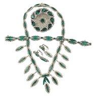 Vintage Kramer of New York Faux Emerald Rhinestone Parure