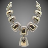 Vintage Modernist Silver and Gold Tone Necklace