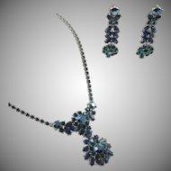Vintage Trifari Blue Green Rhinestone Drop Necklace and Earrings