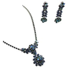 Vintage Trifari Blue Green Rhinestone Drop Necklace and Earrings
