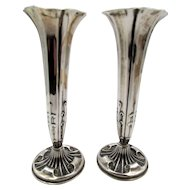Antique Silver Pair of  Art Nouveau 1892 Vases