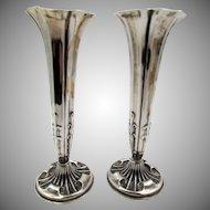 Antique Silver Pair of  Art Nouveau 1892 Vases