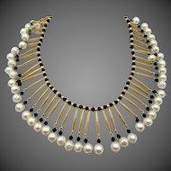 Vintage Trifari Egyptian Revival Faux Pearl Black Glass Necklace