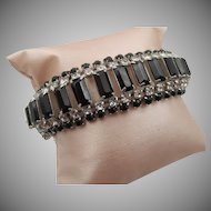 Vintage Kramer of New York Black and Crystal Bracelet