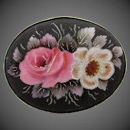 Vintage Victorian Hand Painted Floral Silver Brooch