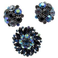 Vintage Weiss Blue AB Rhinestone Brooch and Earrings