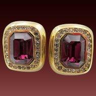 Vintage Ciner Purple Rhinestone Clip Earrings