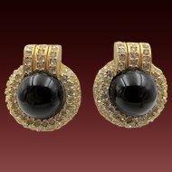 Vintage Ciner Art Deco Style Rhinestone Clip Earrings