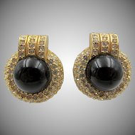 Vintage Ciner Art Deco Style Rhinestone Clip Earrings