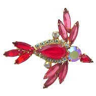 Vintage D&E Juliana Red Rhinestone Bird in Flight Brooch