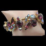 Vintage D&E Juliana Purple and AB Five Link Bracelet