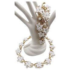Crown Trifari Alfred Philippe White Glass Ivy Berry Necklace and Three Piece Brooch