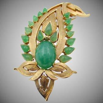 Vintage Trifari Jewels of India Faux Jade Cabochon Brooch