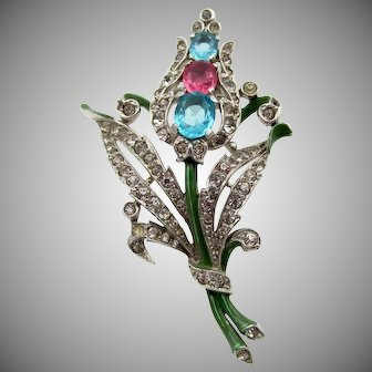 Trifari 1940 Alfred Philippe Enamel and Long Stem Floral Brooch Patented
