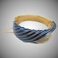 Vintage Trifari Blue Enamel and Rhinestone Clamper Bracelet