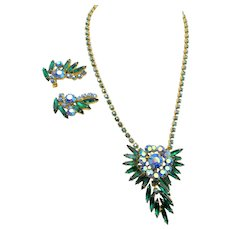 Vintage DeLizza & Elster Juliana Green Navette Blue AB Necklace and Earring Set