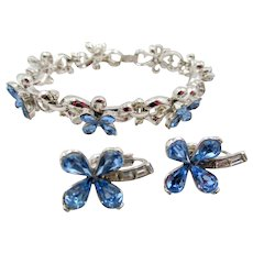 Vintage Trifari Blue Floral Rhinestone Bracelet and Earrings