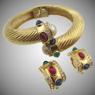 Vintage Givenchy Faux Ruby, Sapphire and Emerald Cabochon Bracelet and Earring Set