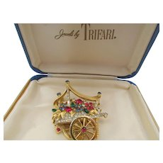 Vintage Crown Trifari Flower Cart Rhinestone Brooch