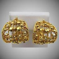 Vintage Jose Barrera Half Hoop Gold Metallic Earrings