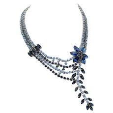Vintage Light and Dark Blue Rhinestone Cascade Necklace