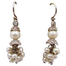 Vintage Art Deco Faux Pearl Cluster Drop Pierced Earrings