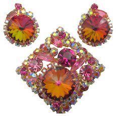Vintage DeLizza & Elster Juliana Pink Rivoli Brooch and Earrings - Book Pieces