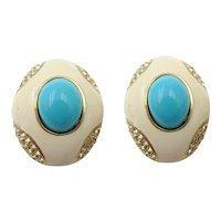 Vintage Ciner Enamel and Faux Turquoise Earrings