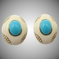 Vintage Ciner Enamel and Faux Turquoise Earrings